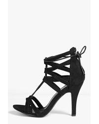 Boohoo - Black Maisie Cage Ghillie Tie Heels - Lyst