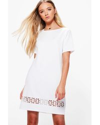 541221c63006 Lyst - Boohoo Dalia Laser Cut Shift Dress in White