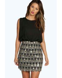 Boohoo Black Boutique Sequin Chiffon Bodycon Dress
