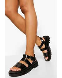 Boohoo Black Double Strap Buckle Sporty Dad Sandals