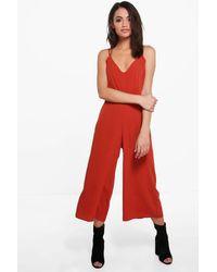 Combinaison Jupe-Culotte À Bretelles Boohoo en coloris Orange