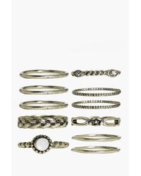 Boohoo - Metallic Isabelle Skinny Mixed Design Ring Pack - Lyst