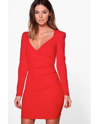 Boohoo - Red Liza Slinky Wrap Long Sleeve Bodycon Dress - Lyst