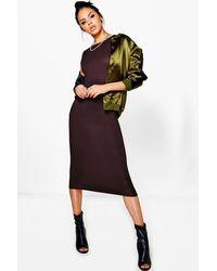 Boohoo Brown Cap Sleeve Jersey Bodycon Midi Dress