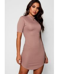 Boohoo Yellow Ribbed Curved Hem High Neck Bodycon Dress