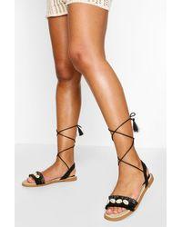 Sandales À Brides Enveloppées Détail Coquillage Boohoo en coloris Black
