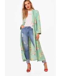 Boohoo - Green Oriental Print Kimono - Lyst