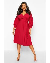 Boohoo Red Womens Plus Off The Shoulder Wrap Midi Dress