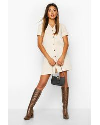 Cord Button Through Shift Dress - ecru - 36, Ecru Boohoo en coloris Multicolor