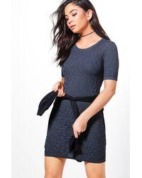 Boohoo - Gray Tabitha Zip Back Dress - Lyst