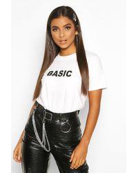 Basic Slogan T-Shirt Boohoo en coloris White