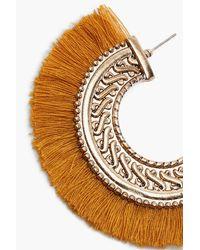 Boohoo - Metallic Mia Boho Engraved Fringed Hoop Earrings - Lyst