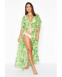 Floral Apple Maxi Beach Kimono Boohoo en coloris Green