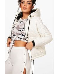 Boohoo - Natural Hooded Padded Jacket - Lyst