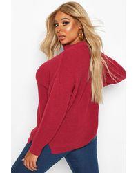 Boohoo Gray Plus Choker Side Split Sweater