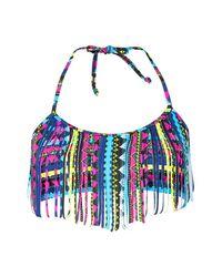 Boohoo Multicolor Womens Tassel Front Aztec Print Halter Neck Bikini