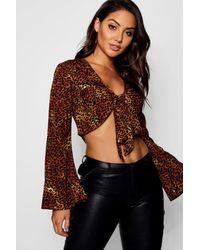 Boohoo Brown Leopard Tie Front Woven Top