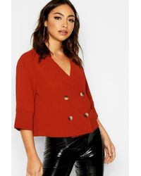 Boohoo White Tortoise Shell Double Breasted Shirt