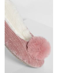Boohoo Pink Pom Pom Ballet Slippers