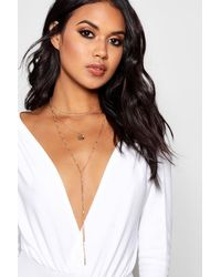 Boohoo - Metallic Hannah Layered Plunge Chain Necklace - Lyst