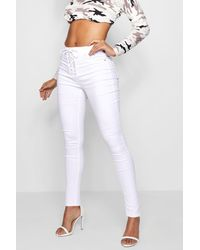 Boohoo White Corset Lace-up High Waist Skinny Jeans
