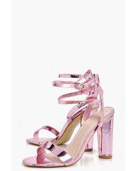 Boohoo Pink Ella Double Buckle Ankle Band Cylinder Heel