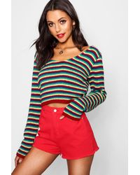 Boohoo Multicolor Tall Rainbow Stripe Crop Jumper