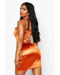 Boohoo Orange Womens Satin Cupped Lace Detail Mini Dress