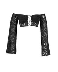 Boohoo Black Lace Flare Sleeve Lace Up Crop
