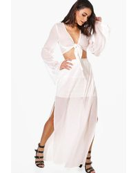 Boohoo White Fiona Cheesecloth Crop & Maxi Skirt Co-ord