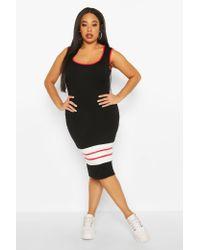 Boohoo Womens Plus Sport Stripe Midi Dress - Black - 18