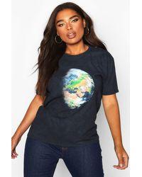 T-Shirt Imprimé Délavé Terre Plus Boohoo en coloris Black