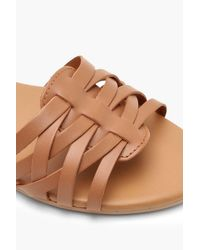Boohoo Brown Boutique Freya Woven Leather Ballet