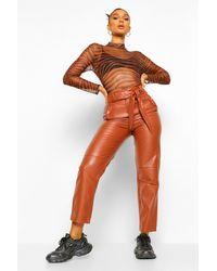 Boohoo Brown Womens High-Waist Hose Mit Geradem Bein In Lederoptik