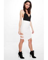 Boohoo White Lua Cut Work Midi Skirt
