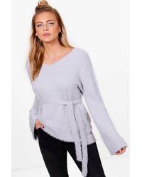 Boohoo - Gray Fluffy Knit Flare Sleeve Tie Waist Jumper - Lyst