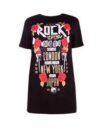 Boohoo | Black Plus Hollie Rock Slogan Tshirt Dress | Lyst