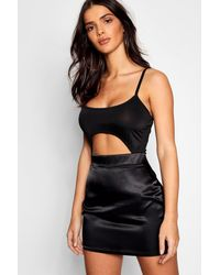 Boohoo Black Satin Micro Mini Skirt
