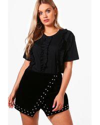 Boohoo Black Plus Tammy Ruffle Front T Shirt