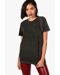 Boohoo Black Daisy Studded Sleeve Detail Washed T-shirt