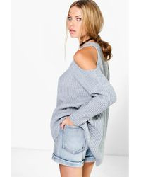 Boohoo Multicolor V Neck Cold Shoulder Jumper