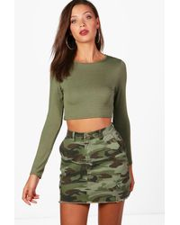 Boohoo Green Womens Tall Long Sleeve Crop Top