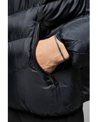 Boohoo Blue Hooded Quilted Jacket for men