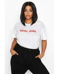 Boohoo White Womens Plus 'real Girl' Slogan T-shirt