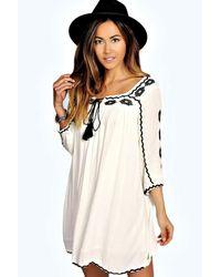 Boohoo White Embroidered Tassel Dress