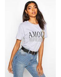 Tall 'Amour' Slogan T-Shirt Boohoo en coloris Gray