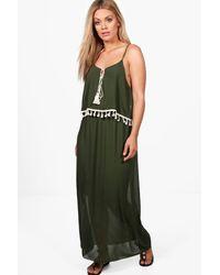 Boohoo Green Plus Melissa Tassel Trim Beach Dress