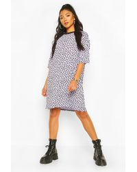 Boohoo Multicolor Womens Oversized T-Shirt-Kleid Mit Dalmatiner-Print