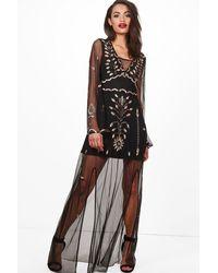 Boohoo - Black Boutique Embellished Maxi Dress - Lyst