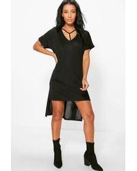 Boohoo Black Veronique Strap Detail Dip Hem Dress